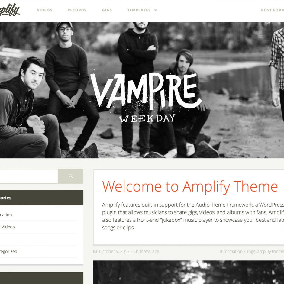 Amplify WordPress Theme for Bands and Music