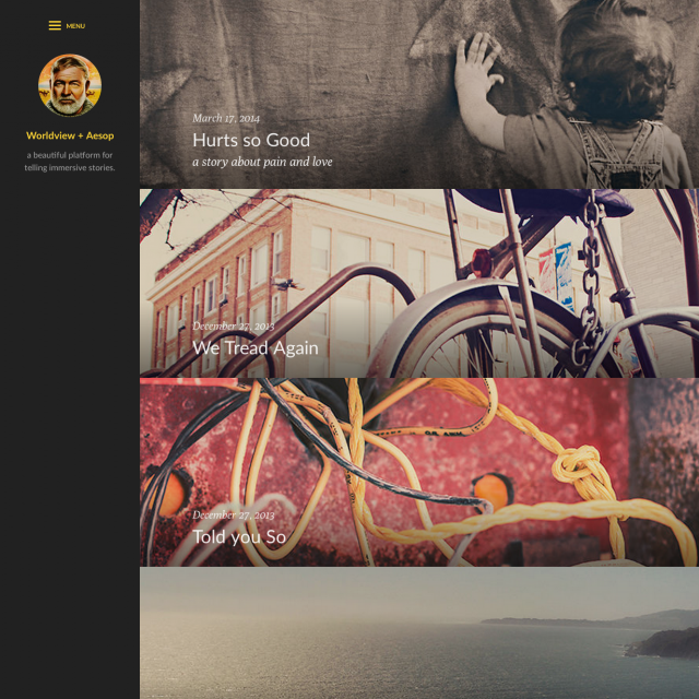 A new parallax view for stories takes over when Aesop is activated, removing the previous article excerpt.