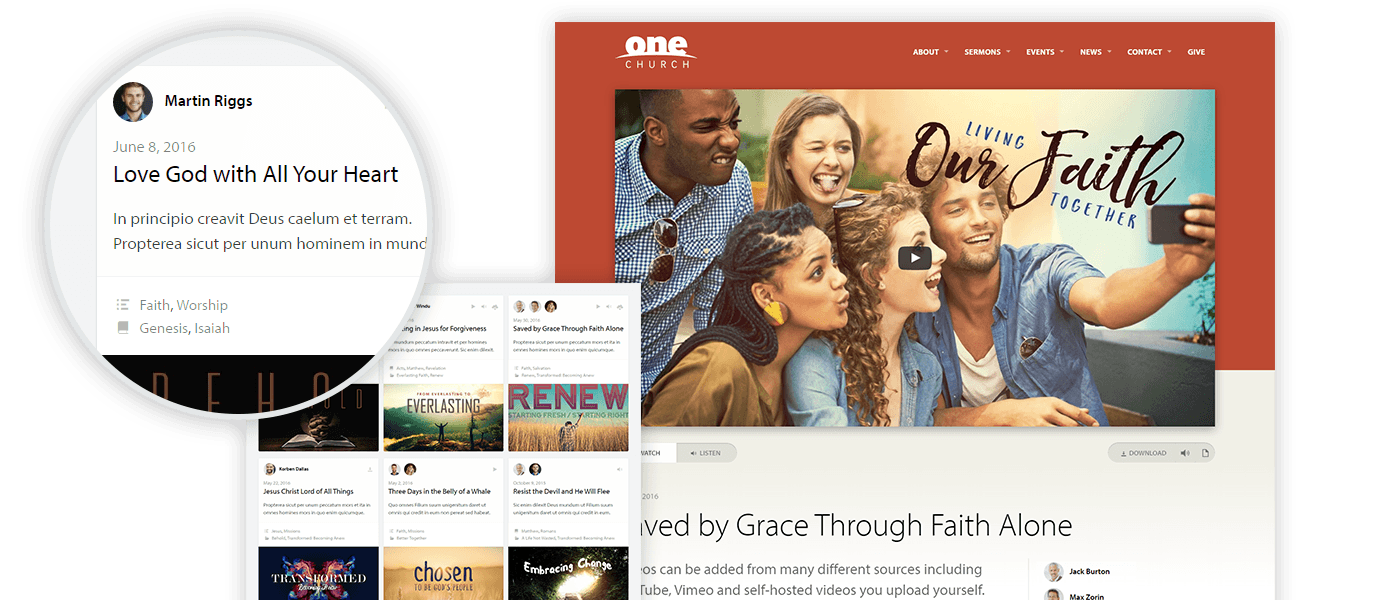 church wordpress theme content